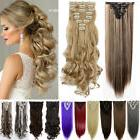 US 100% Real as Huma Hair Clip in Full Head Hair Extensions