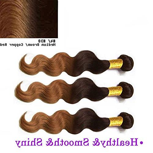 BODY WAVE Brazilian 3 Bundle Wavy Hair 100% Two Tone #4/#30 Color -22""