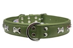 """Leather """"Bones"""" Dog Collar, Padded, Double-Ply,  Riveted Set"""