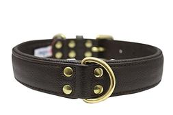 """Leather Dog Collar, Padded, Double Ply, 24"""" x 1.25"""", Brown,"""