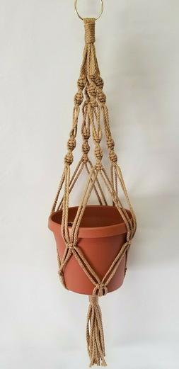MACRAME PLANT HANGER 24 inch Spiral Style Sand - Choose Colo