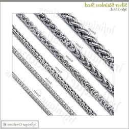 Stainless Steel Silver Wheat Braided Chain Bracelet And Neck