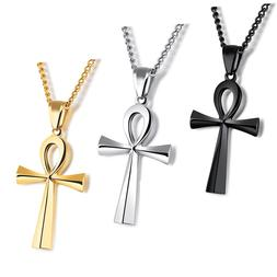 Mens Stainless Steel Large Coptic Ankh Cross Pendant Link Ch