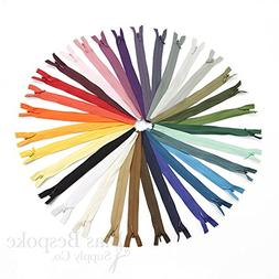 Set of 32 Mixed Colors Invisible Zippers, 24 Inch, Bias Besp