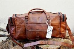 New 24 Inch Brown Vintage Genuine Leather Cowhide Travel Lug