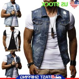 Men Causal Denim Jacket Vest Jean Coat Cool Collared Sleevel