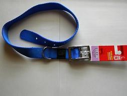 Dogit Nylon Single Ply Dog Collar with Crome Buckle, Blue, X