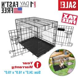 Pet Cage 24 Inch Cat Dog Animal Crate Home Folding Metal 2 D