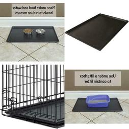 Pet Folding Dog Crate  Cage Kennel Plastic Pan tray Floor 24