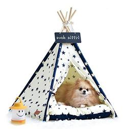 little dove Pet Supplies Canvas Star Style Pet Teepee and Ke