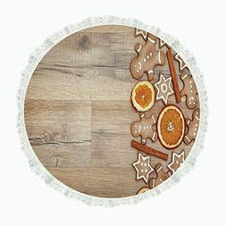 """iPrint 90"""" Round Polyester Linen Tablecloth,Gingerbread Man,"""