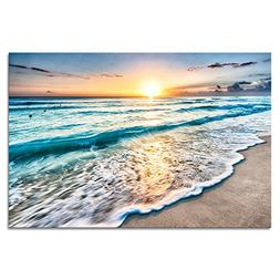 Wieco Art Sea Waves Large Canvas Prints Wall Art Ocean Beach