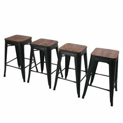 Set of 4 Backless Metal Bar Stools Stackable Barstool Kitche