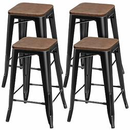 """Set of 4 Counter Height Backless Barstool 26"""" Metal Stackabl"""