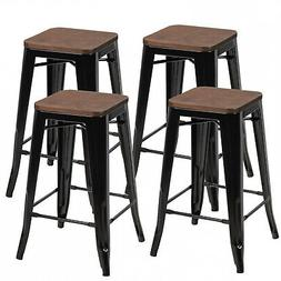 Set of 4 Counter Height Backless Barstool 26'' Metal Stackab