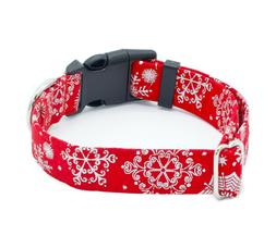 """Snowflakes Red Holiday Dog Collar 1"""" - 2"""" Width   Martingale"""