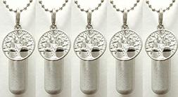 Special Set of FIVE Brushed Silver TREE OF LIFE CREMATION UR