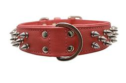 Spiked Studded Leather Dog Collar, Wide, Padded, Double-Ply,