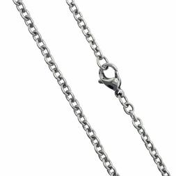 "SilverCloseOut Stainless Steel 24"" Cable Chain Necklace 3.1M"