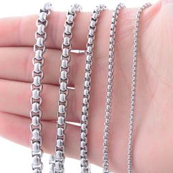 Stainless Steel 24 Inch 3 mm Rounded Box Neck Chain Necklace