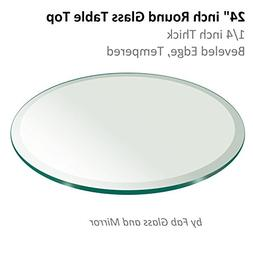 """24"""" Inch Round Glass Table Top 1/4"""" Thick Tempered Beveled E"""
