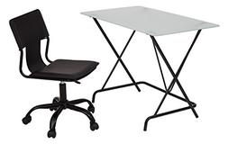 OSP Designs 2 Piece Desk Set with Frosted Tempered Glass Top