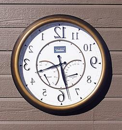 """24"""" Large Outdoor Wall Clock Waterproof with Temperature and"""