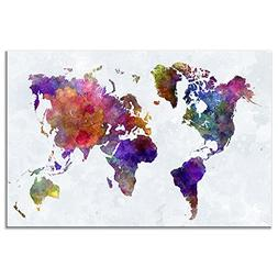 Wieco Art - Colorful World Map Large Modern Stretched and Fr